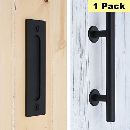 black 12 inch sliding barn door handle pull and flush door handle set peaha ph08tbk stainless steel wood door closet door pull 1 pack