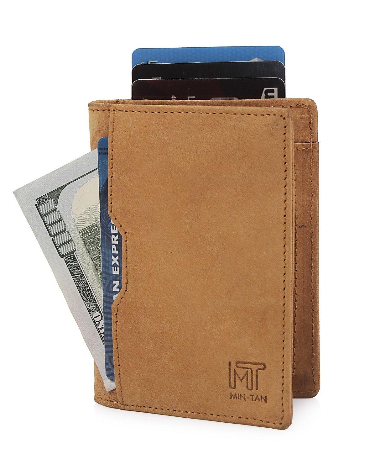 Wallets for Men Slim Mens leather RFID Blocking Minimalist Card Front Pocket Bifold Travel Thin (Camel)