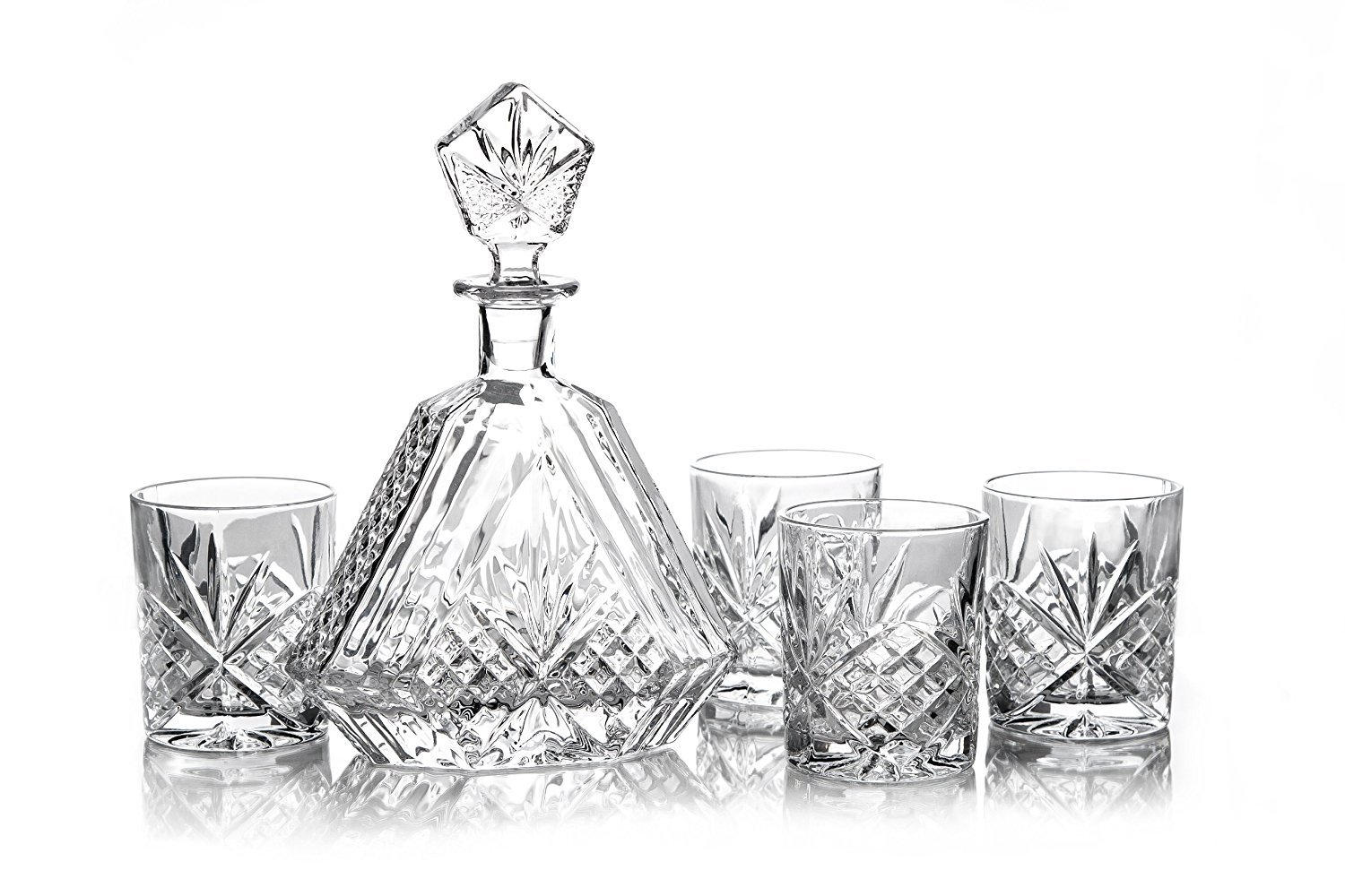 James Scott 5 PC crystal Bar Set, for Whiskey, Wine, and Liquor. This Irish Cut whiskey Set, includes a Triangular Decanter and Dof Glasses
