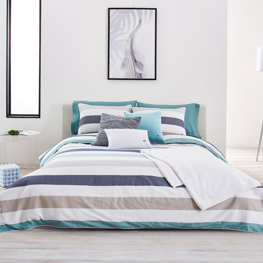 Full Queen Lacoste Bailleul Aqua and Khaki Striped Brushed Twill Comforter Set, King