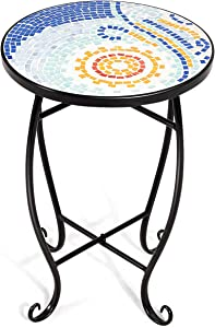 Giantex Mosaic Round Side Accent Table Patio Plant Stand Porch Beach Theme Balcony Back Deck Pool Decor Metal Cobalt Glass Top Indoor Outdoor Coffee End Table (Blue Hawaii)