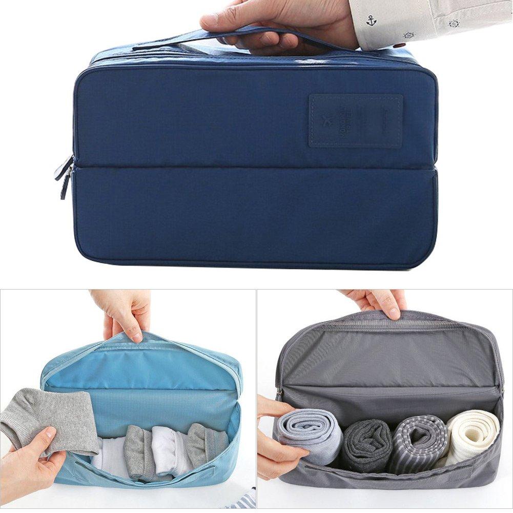Portable Bra Underwear Cosmetic Toiletry Organizer Kit Bag Storage Mulit-Functional Makeup Bag Small Packing Travel Case Underwear Storage Boxes Bra Organizer Bag (Blue, Rectangular) suesupply