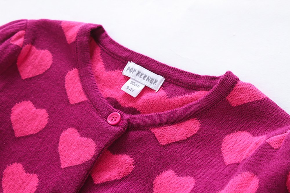 CJ Fashion Cute Knit Cardigan Sweater for Baby Girls 4-5 Years Old Hot Pink Crew Neck by CJ Fashion (Image #3)