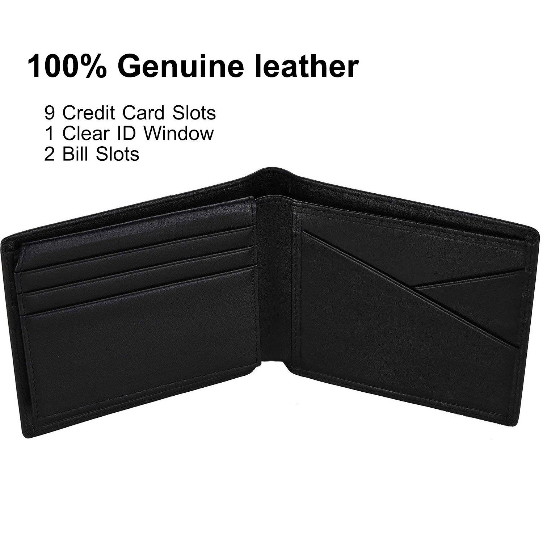 Portefeuilles Homme Porte Feuille Noir Porte-Cartes Porte-Monnaie pour Poches Pantalon ou Veste