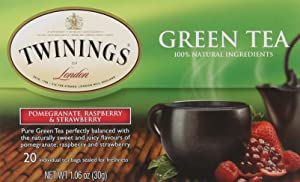 Twinings of London Green Tea Bags, Pomegranate, Raspberry and Strawberry, 20 Count