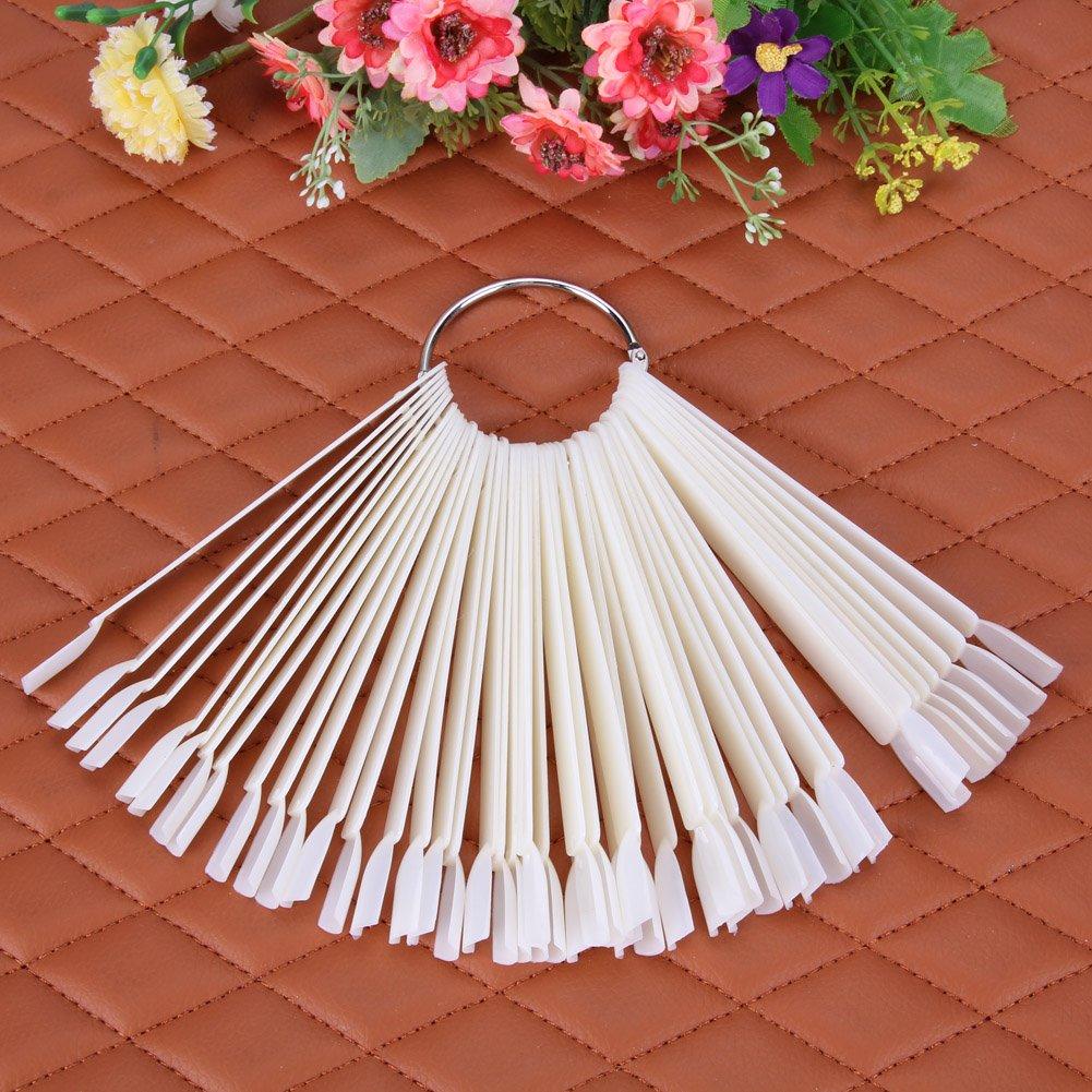 Gowind6 - Juego de 50 palos de uñas postizas, diseño de abanico para práctica de salón (anillo de acero, natural): Amazon.es: Belleza