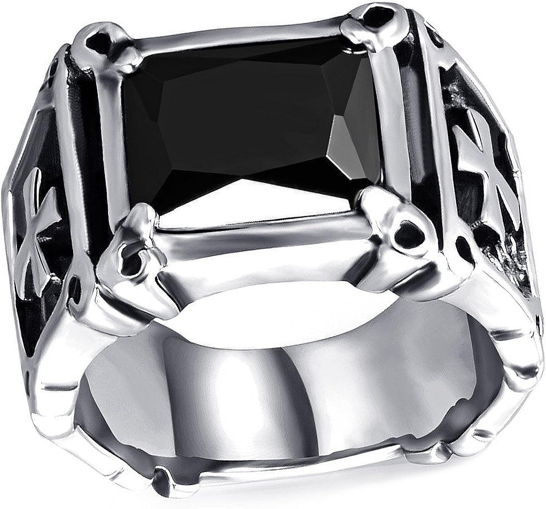 cristaux de zircone cubique noirs pour homme et femme avec pochette cadeau en velours Bague vintage celtique en acier inoxydable argent/é Mendino avec incrustation de rubis