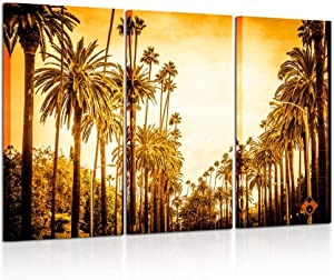 Kreative Arts 3 Piece Canvas Prints Wall Art Palm Tree in Retro Style Los Angeles Street Landscape Picture Modern Home Decor Stretched and Framed Ready to Hang for Office Decorations 16x32inchx3pcs