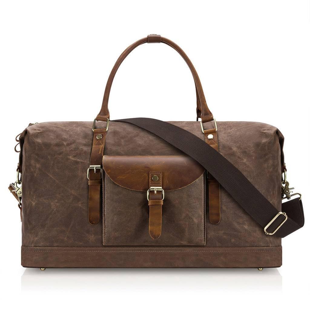 Plambag Oversized Duffel Bag, Waterproof Canvas Leather Trim Overnight Luggage Bag(Coffee) by Plambag (Image #2)