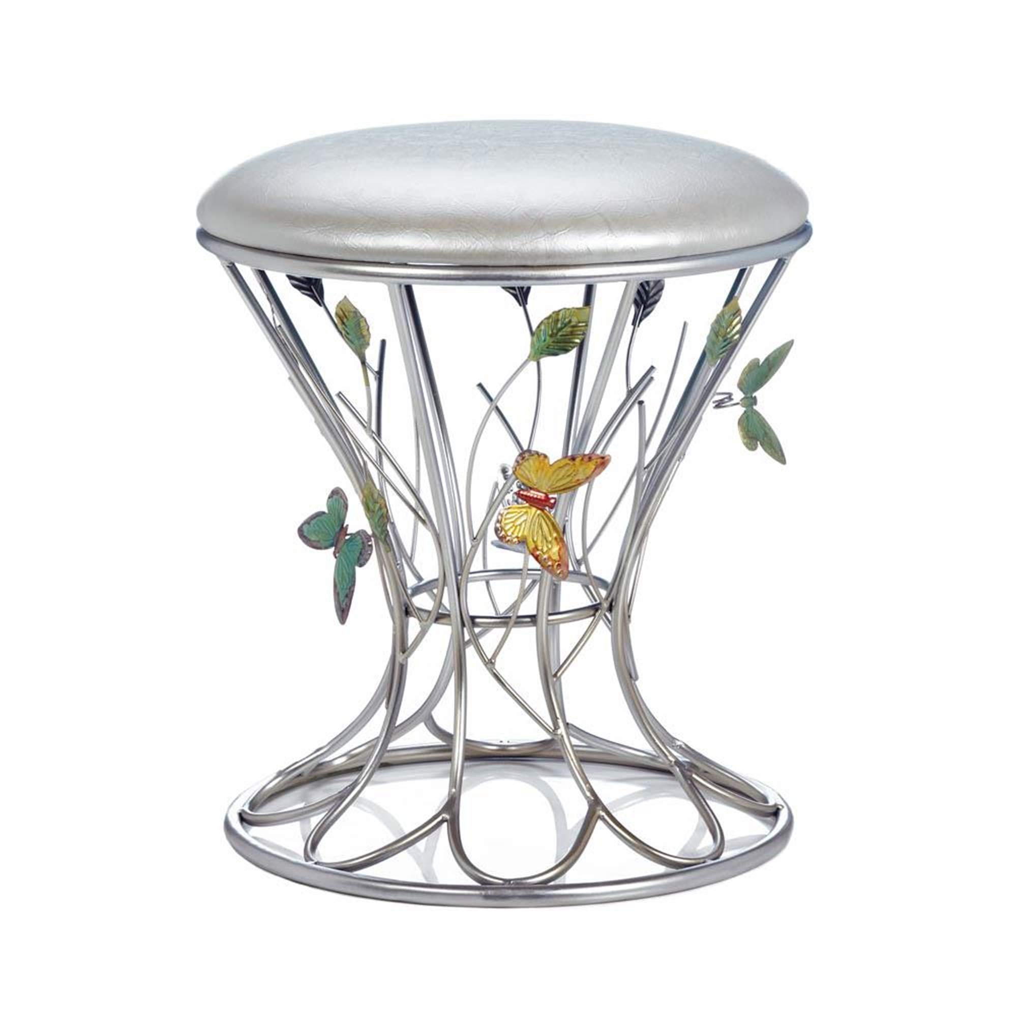 Butterfly Stool, Butterfly Bathroom Vanity Stool, Girls Makeup Table Chair, Metal Accent Stool with Butterflies Wings, Silver Accent Stools, Butterfly Themed Decor, Whimsical Bedroom Furniture by Butterfly Lover Gifts