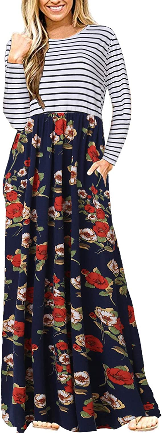 CNFIO Floral Dresses for Women Long Sleeve Maxi Dresses Casual Long Dress with Pockets Black M