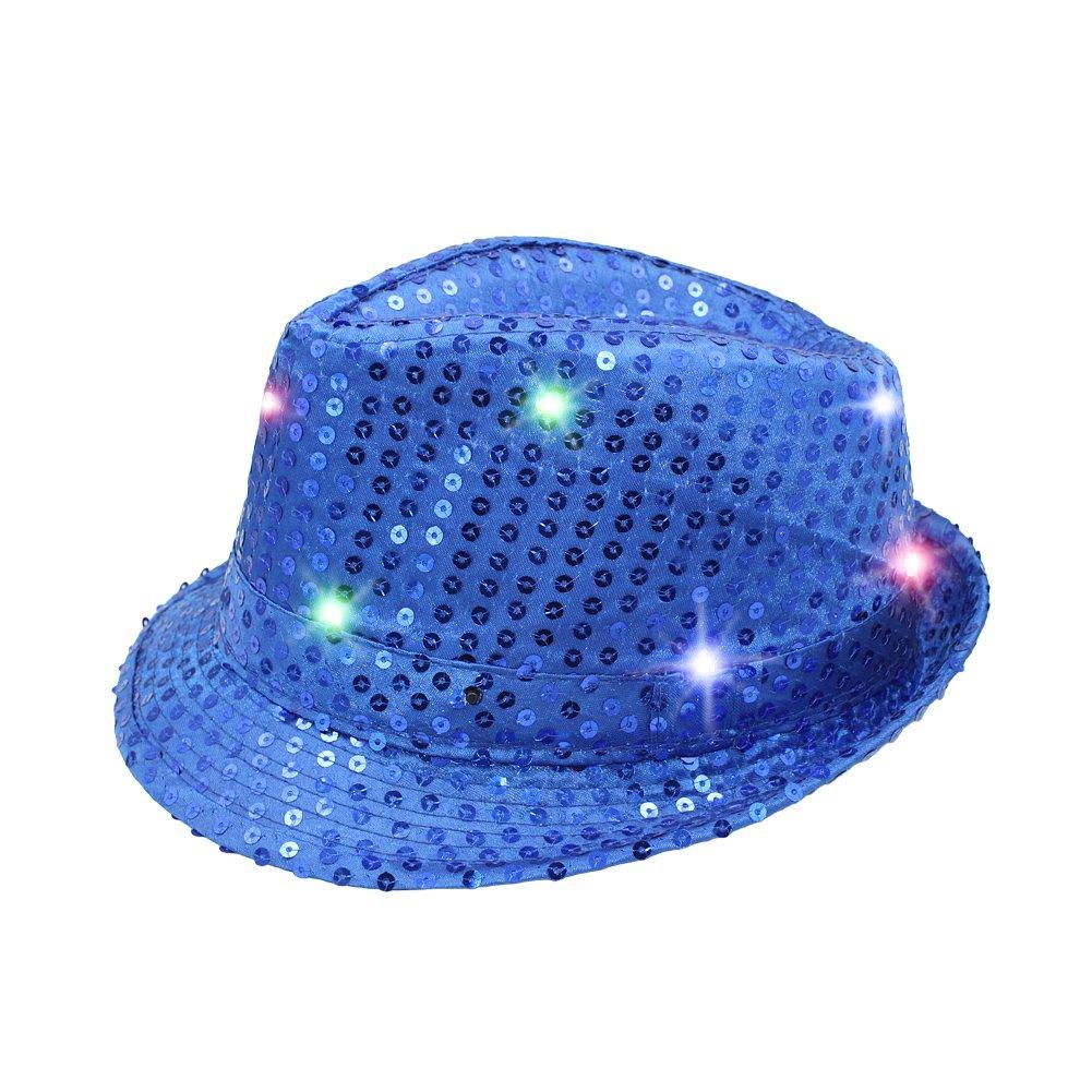 Namsan LED Jazz Hat/Cap Blinken Dance Hat Helle Beleuchtung Licht Up Pailletten Hat Pailletten Show Figuren Darstellende Bling Hüte für Party mit 9LED mit Pailletten besetzt blau