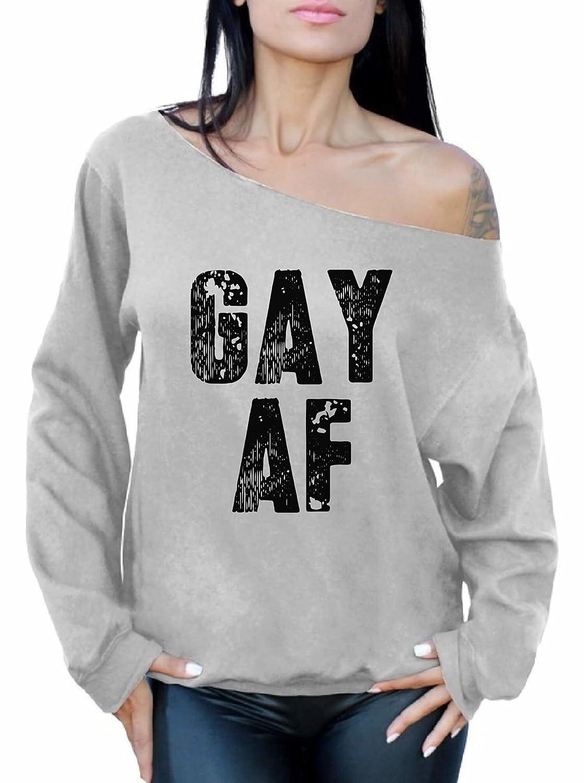 Awkward Styles Women's Gay Pride Gay AF Off The Shoulder Tops LGBT Queer Sweatshirt