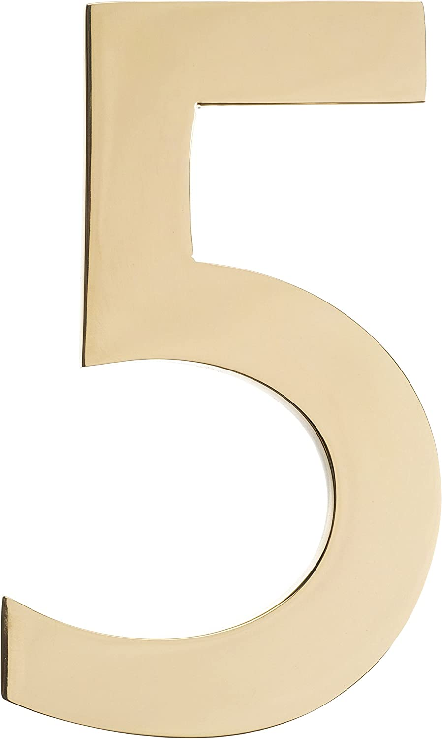 Architectural Mailboxes 3585PB-5 5 inch Solid Floating House Number, Polished Brass