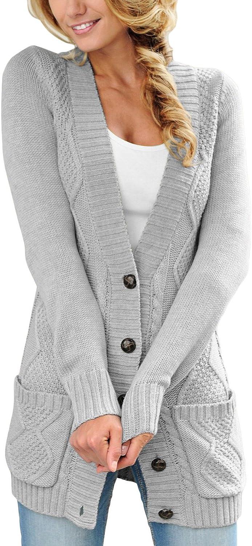Aleumdr Cardigan Donna a Trecce con Due Tache Cardigan Donna Inverno Tasche Frontali Maglione Donna Lungo