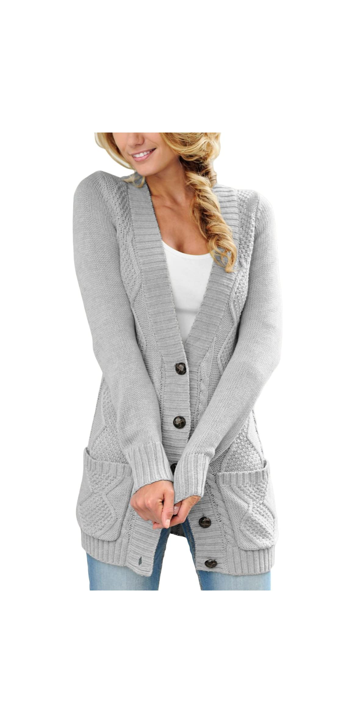 Women Open Front Pocket Cardigan Sweater Button Down