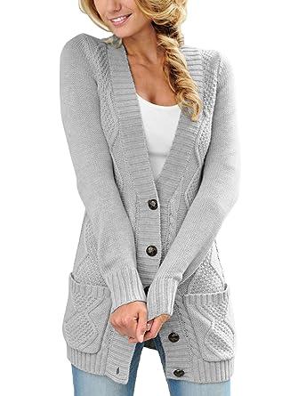 wholesale dealer 0e7aa 5bf24 Aleumdr Cardigan Lungo Due Tache Cardigan Donna Inverno Anteriore Aperto  con Tasca