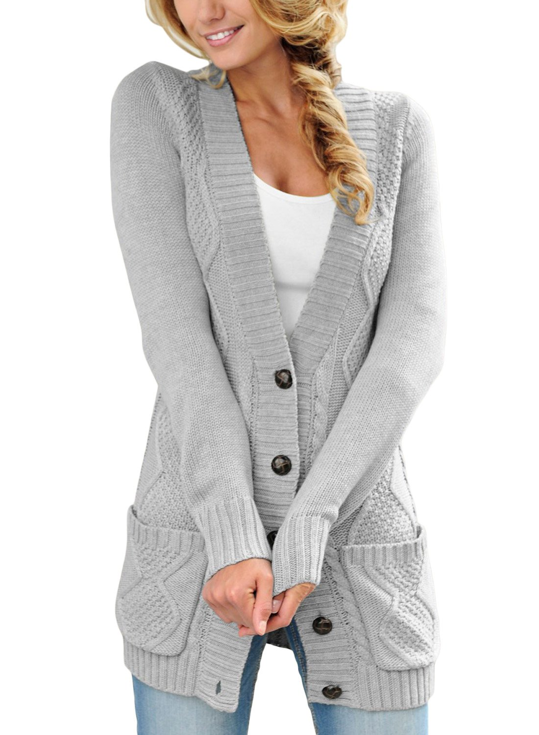 LOSRLY Women Open Front Cabel Knit Cardigan Button Down Long Sleeve Sweater Coat Outwear with Pockets-Gray XL 16 18
