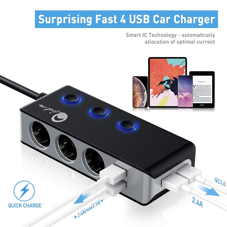 Amazon.com: Qidoe - Cargador de coche de 120 W, 12 V/24 V, 3 ...