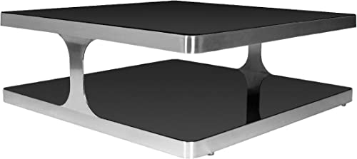 Diego Square Cocktail Table with Black Glass Top Shelf and Brushed Stainless Steel Frame by Allan Copley Designs
