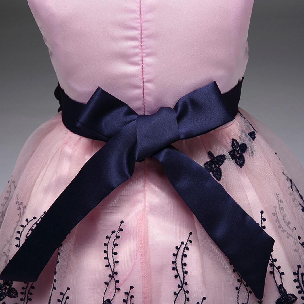 UOMOGO/® Vestito Ragazze Bambina Farfalla Cerimonia Elegante Smanicato Principessa Abiti 1-7 Anni