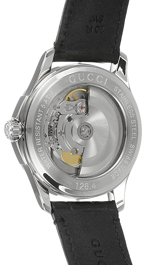 bb3e78c47b9 Amazon.com  Gucci Swiss Automatic Stainless Steel and Leather Dress Black  Men s Watch(Model  YA126469)  Watches