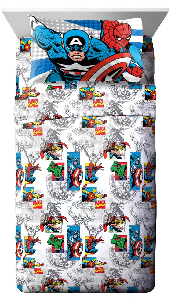 Jay Franco Comics Good Guys 4 Piece Full Sheet Set-Features Captain America, Hulk, Iron Man, Spiderman, and Thor-Fade Resistant Polyester Microfiber Fill (Official Marvel Product), Blue by Jay Franco
