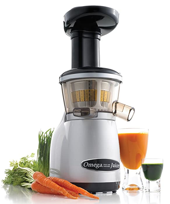 Omega Juicers VRT350X Heavy Duty Low Speed Vertical Masticating Juicer with Dual-Stage Extraction Creates Fruit and Vegetable Juice Compact Design Quiet Motor Certified Refurbished, 150-Watt, Silver