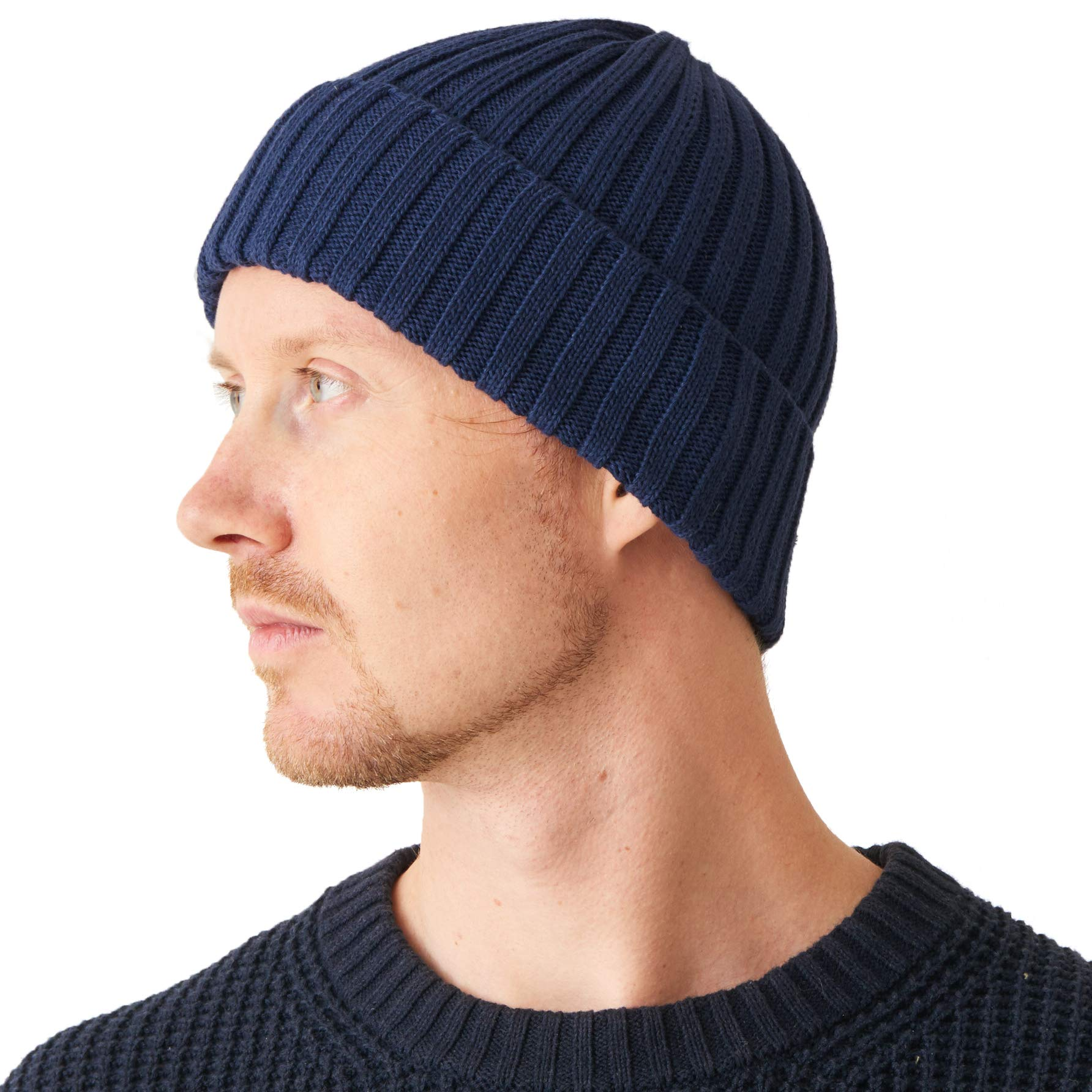 Mens Fisherman s Beanie Hat - 100% Cotton Ribbed Slouch Cap Women Chemo  Knit Winter Summer Simple Classic Design Navy b50b9cbb384d