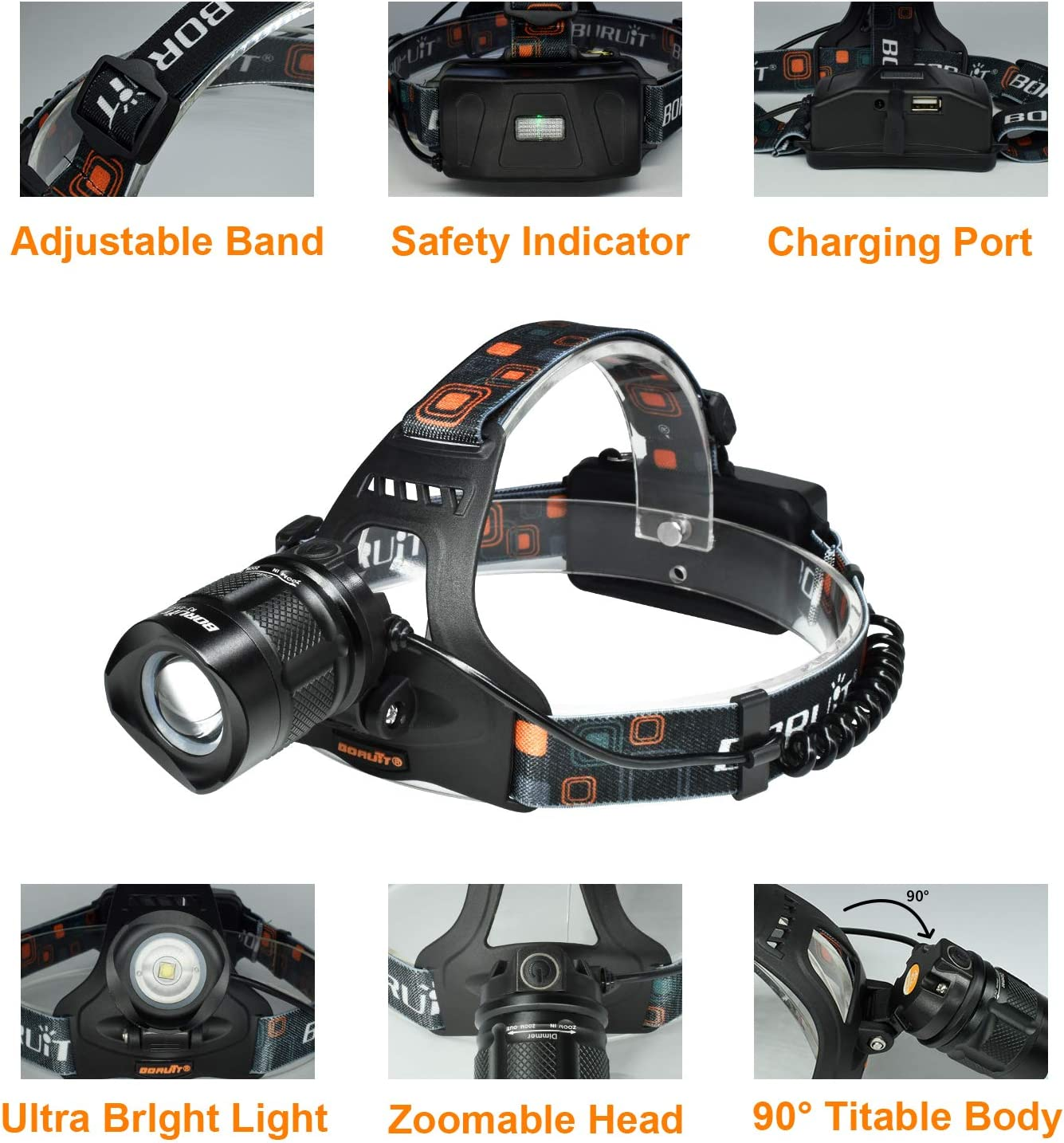 USB Rechargeable Headlamp Aidisun Brightest High Lumen XM-L2 LED Work Headlight Flashlight Waterproof, Zoomable, Adjustable Super Bright Head Lamp Best for Camping Hiking Biking Hunting Running