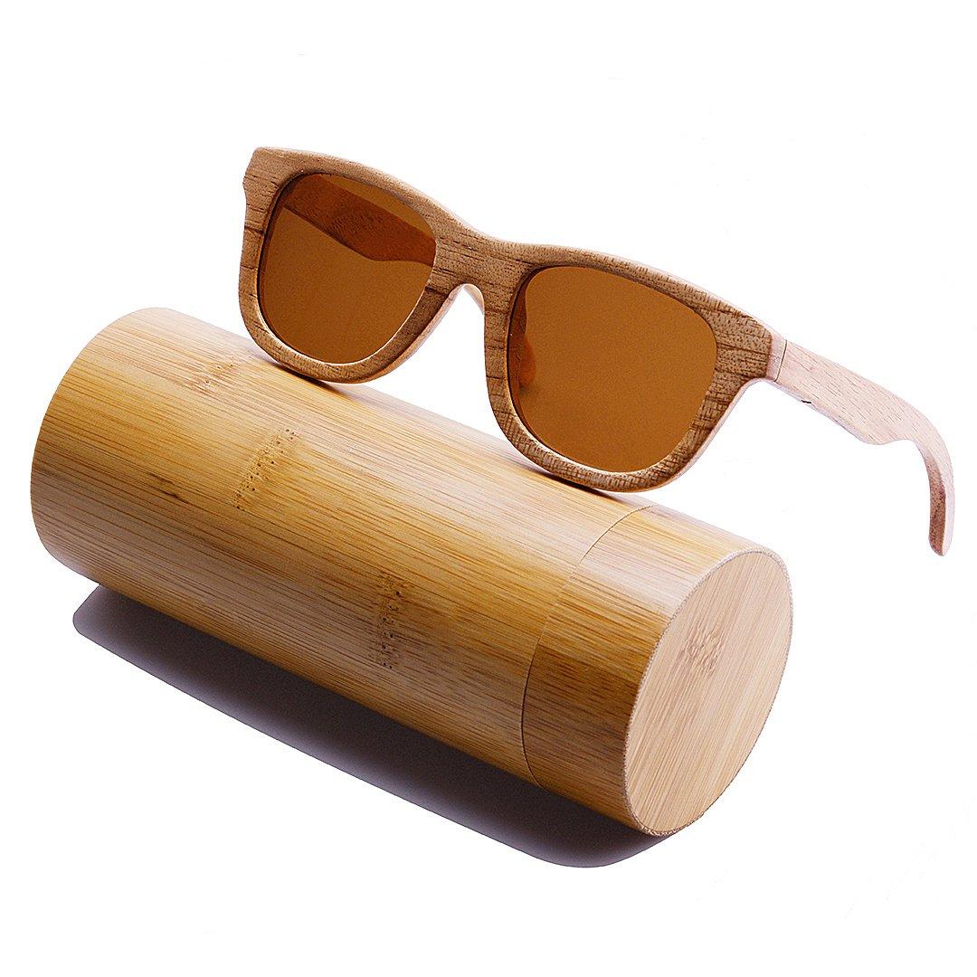4bf05a2334f466 BEWELL Lunettes de Soleil Bois Femme polarisé lens eyewear avec Bois de  monture Casual Vêtements Accessoires