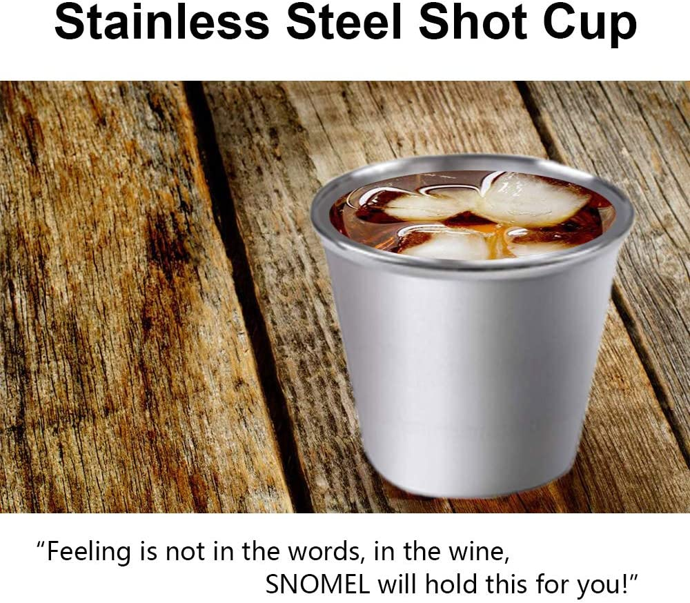 Drinking Vessel for Versatile Use Stackable and Unbreakable Shot Glass SNOMEL 1.5 Ounce 304 Stainless Steel Shot Cups 12 PCS