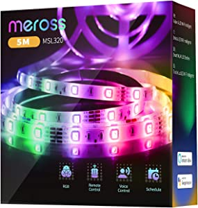 meross Led Strip Lights, Smart RGB WiFi Strip, Compatible with Alexa, Google and SmartThings, for Home, Kitchen, Bedroom, Party, Christmas, Halloween (16.4FT)