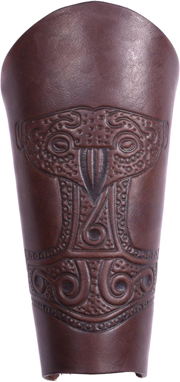 Armsch/ützer LARP Mittelalter Wikinger braun-antik Battle-Merchant Armstulpe aus Leder mit gepr/ägtem Thorshammer