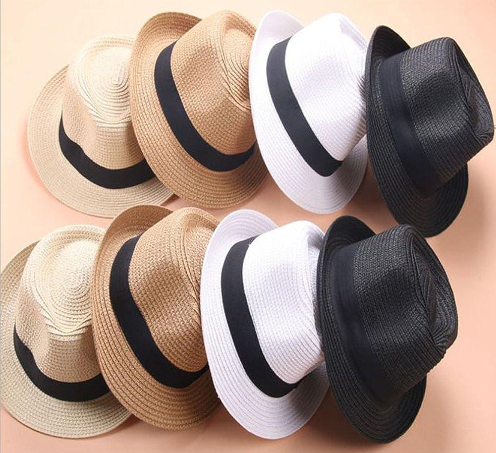 Maylisacc Handgemacht Atmungsaktives Stroh Panama Fedora Hut Frauen Aufrollen Sommer Bowknot Trilby Sonnenh/üte Damen f/ür Feiertage Sonnenschutz
