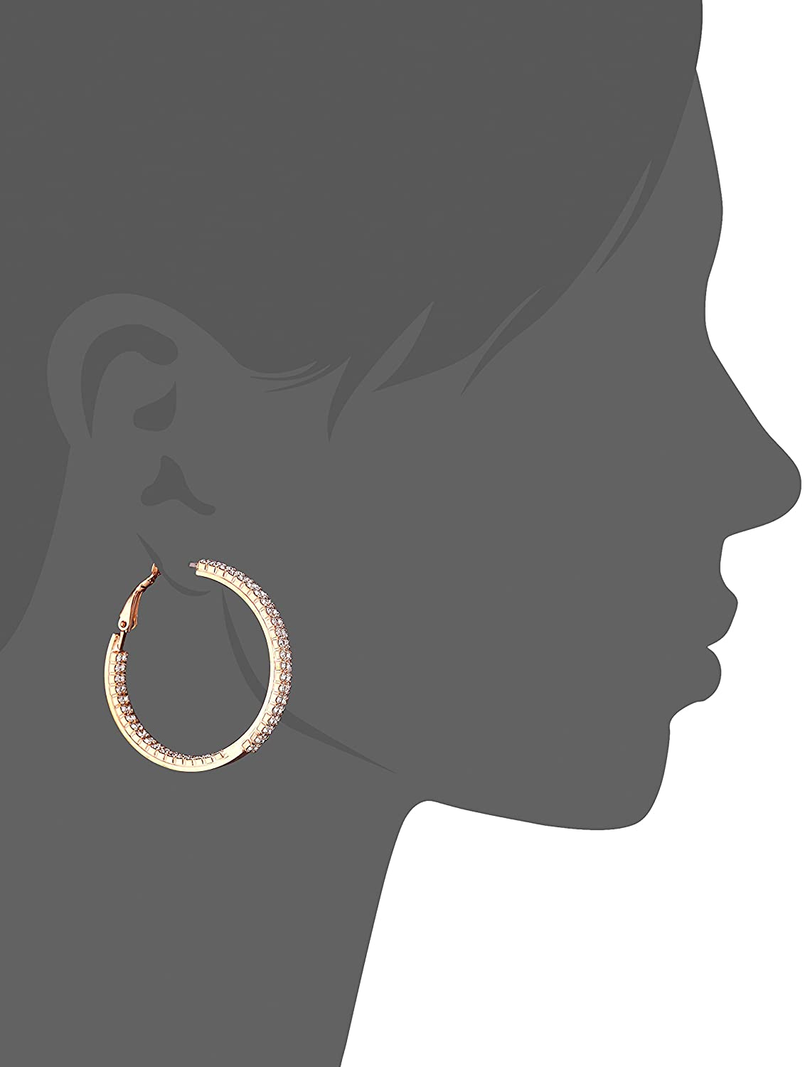 Oroclone Crystal Set 40mm Plated Twin Row Inside Out Earrings