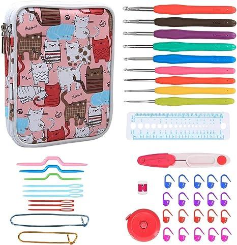 Teamoy Serie de Crochet Kits de Ganchillo Estuche para Crochet Organizador de Agujas Bolsa de Herramientas Juego del Ganchos (incluido accesorios),gato rosado: Amazon.es: Hogar