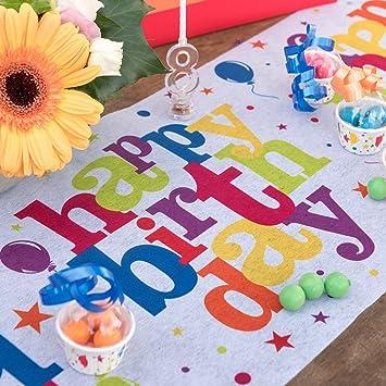 Santex Tischlaufer Party Bunt Happy Birthday Tischband