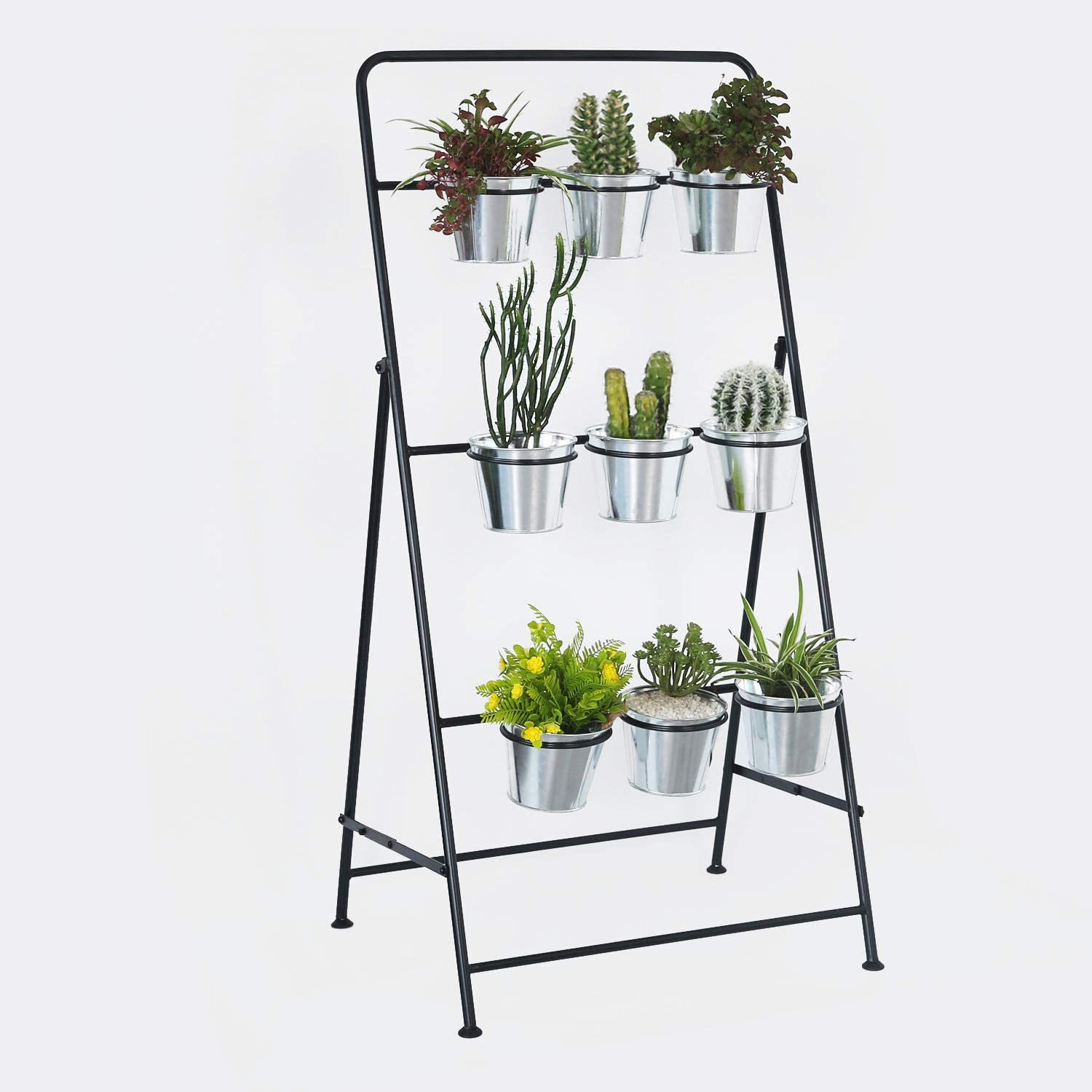 4FT Vertical Garden Tiered Metal Plant Stand Includes 9 Galvanized Planting Pots Indoor or Outdoor Plant Rack is Ideal for Displaying Plants, Herbs, Flowers and Succulents