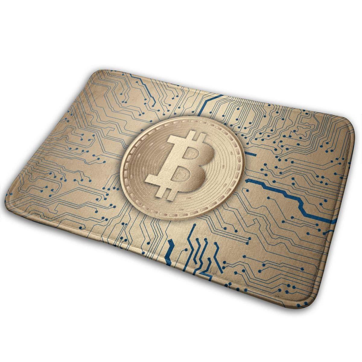 JTLCBC Bitcoin Currency Technology Money Cryptocurrency Entrance Mat Floor Mat Home Decor Carpet Indoor Rectangle Doormat Kitchen Mats