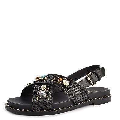 5fc7f356c8fd Ash Maya Sandals Black Woven Leather   Gemstone 41 Black  Amazon.co ...