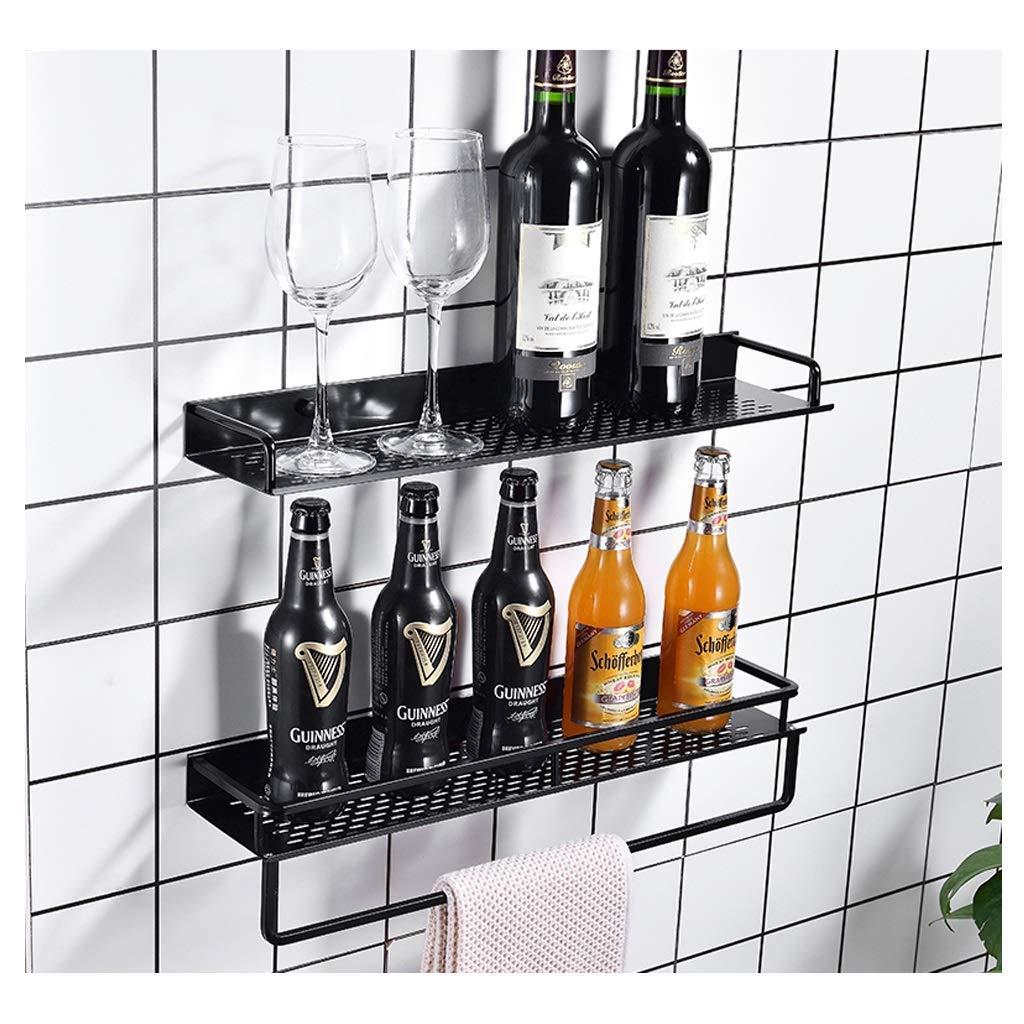 ACZZ Ducha Caddy Storage Basket Estante para ba/ño con toallero Bastidor montado en la pared para cocina Sin perforaci/ón Negro,59.5cm