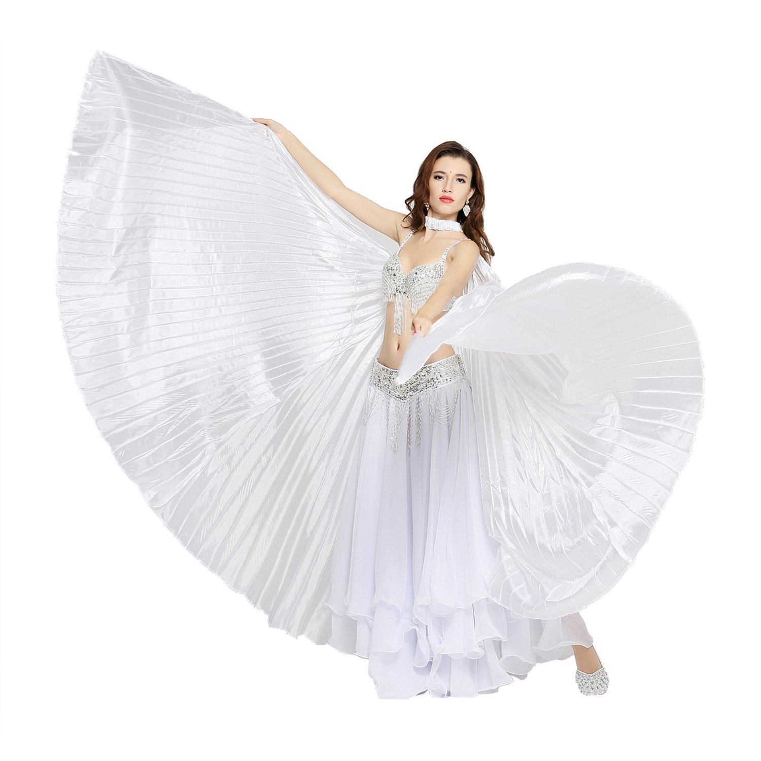 Dance Fairy Belly Dance Silk-Like Isis Wings with Sticks White ...