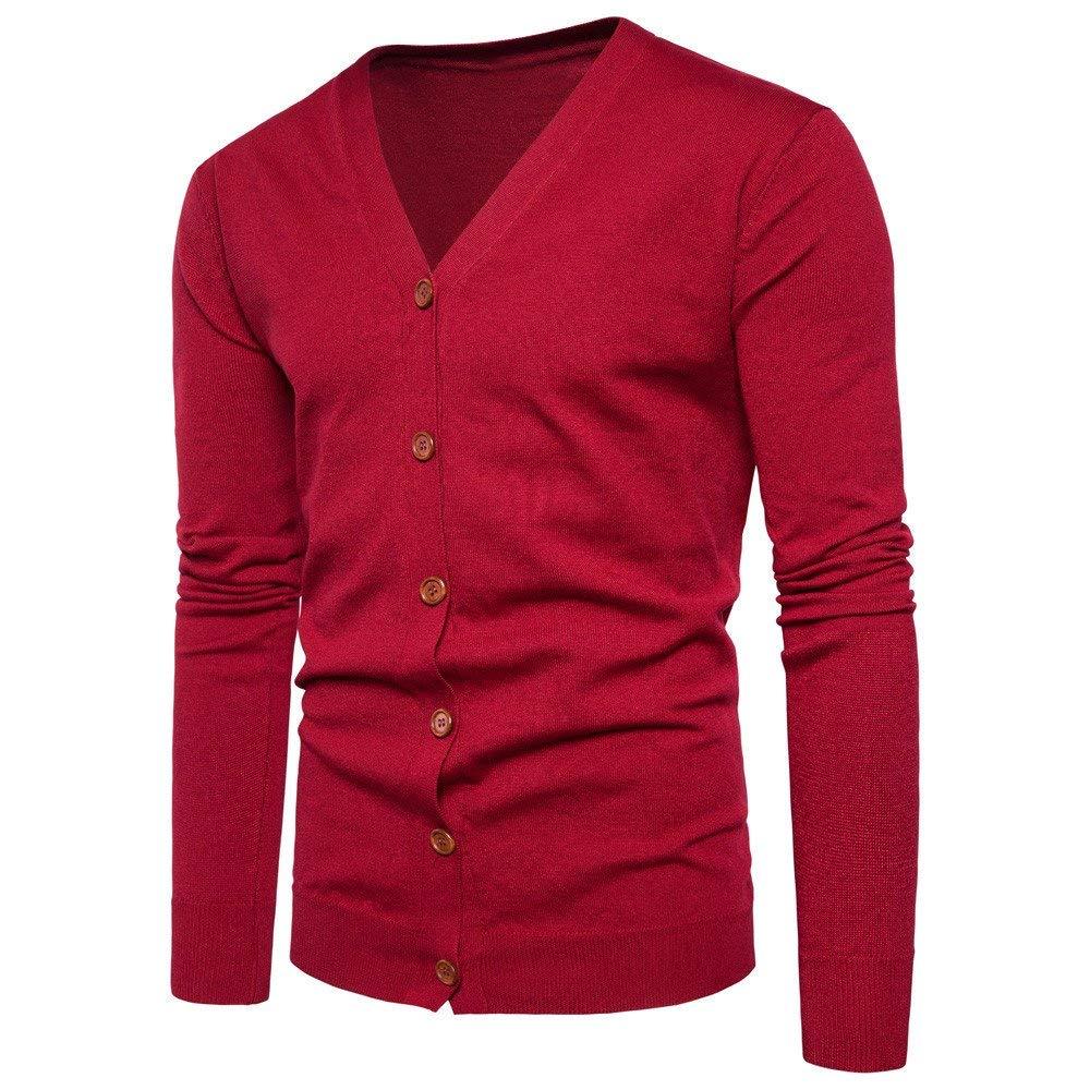 Chaqueta para Hombre Jersey Azul Negro Rojo Oto/ño Invierno Mode De Marca Bot/ón Casual Cuello de Pico Su/éter de Punto de Manga Larga Chaqueta de Punto Abrigo Hombre Ocio Diario Prendas de Punto