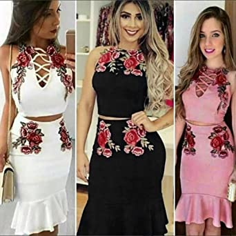 80f57e2872cea Sunward Women Sexy Floral Embroider Crop Top Midi Skirt Outfit Two Piece  Bodycon Dress at Amazon Women s Clothing store