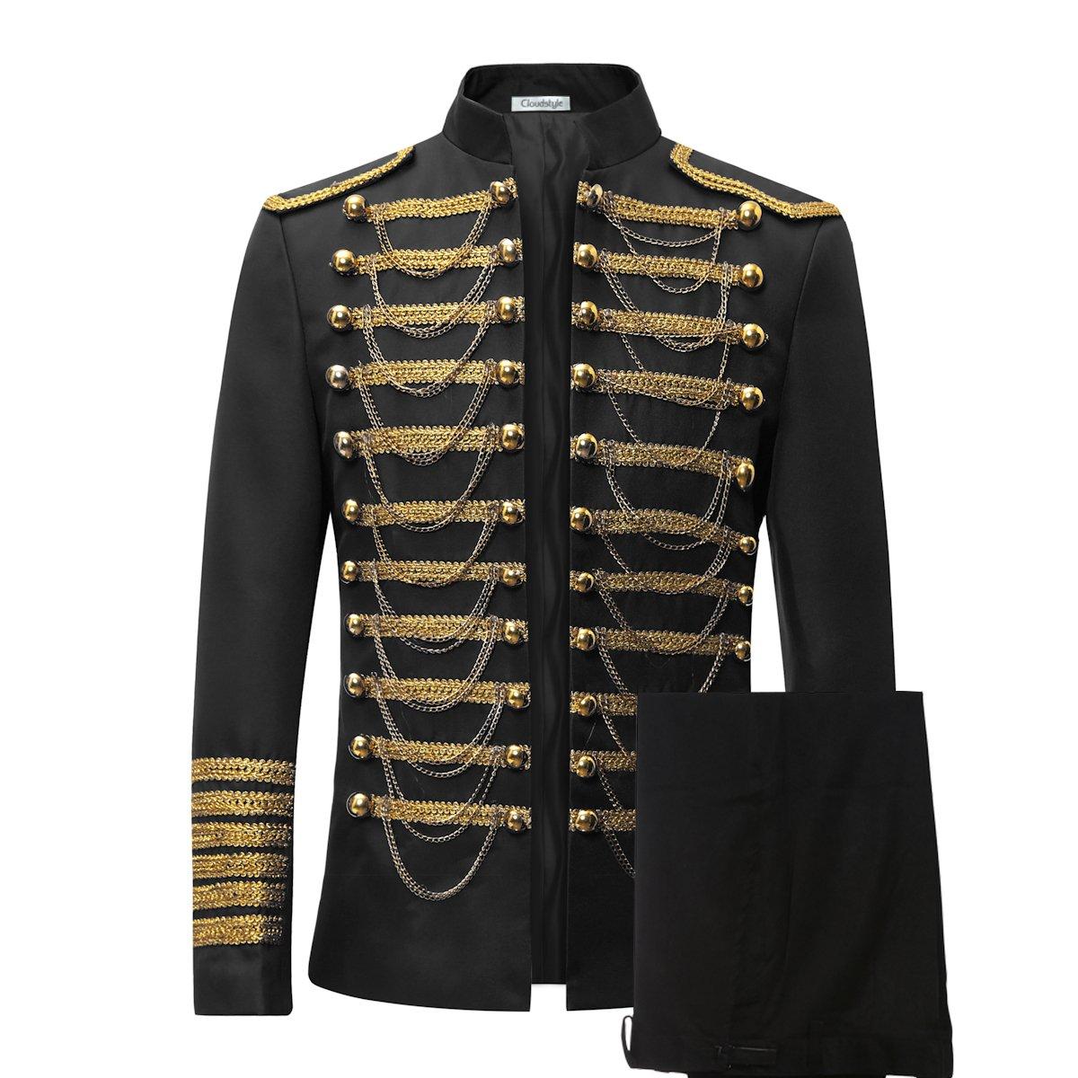Men's Luxury Slim Fit Stylish Suit Blazer Jacket & Trousers Set 2-Piece,Black,X-Small