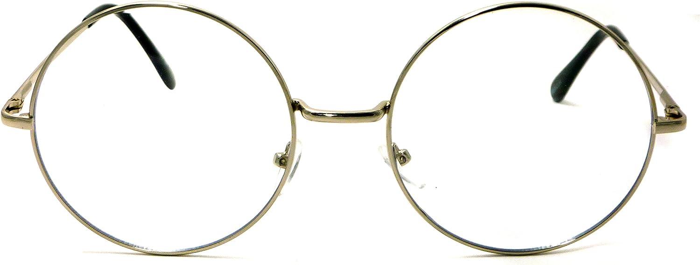 OVERSIZED VINTAGE RETRO Style Clear Lens EYE GLASSES Silver Metal Fashion Frame