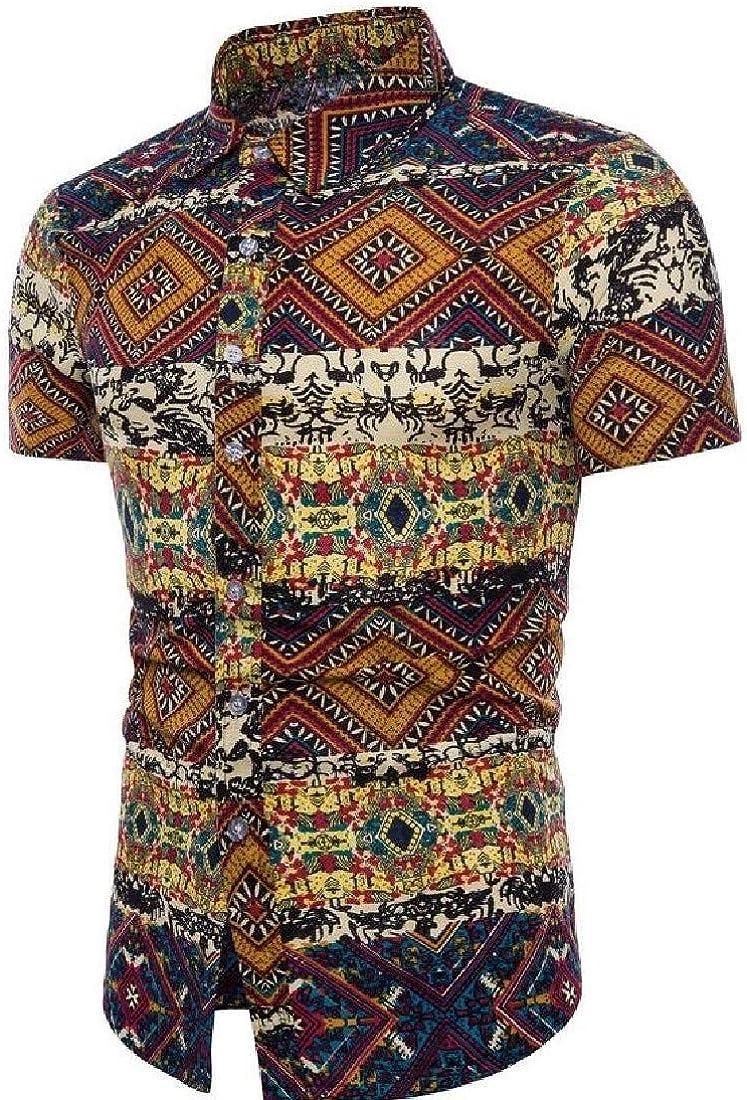 Hajotrawa Mens Casual Printed Button Up Short Sleeve Folk Style Shirts