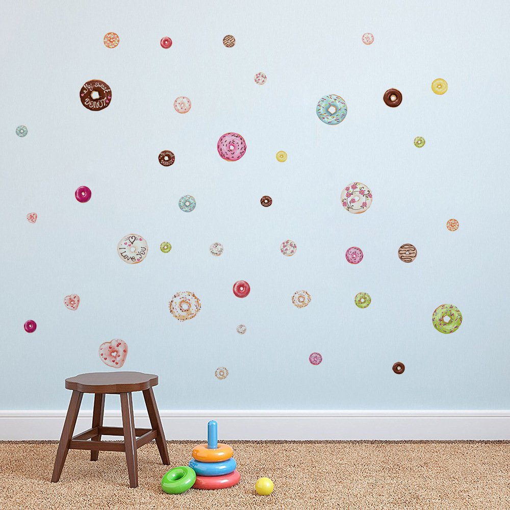 48PCS Donut Wall Stickers Nursery Wall Decal Christmas Decorations Home Decorations for Girls Boys