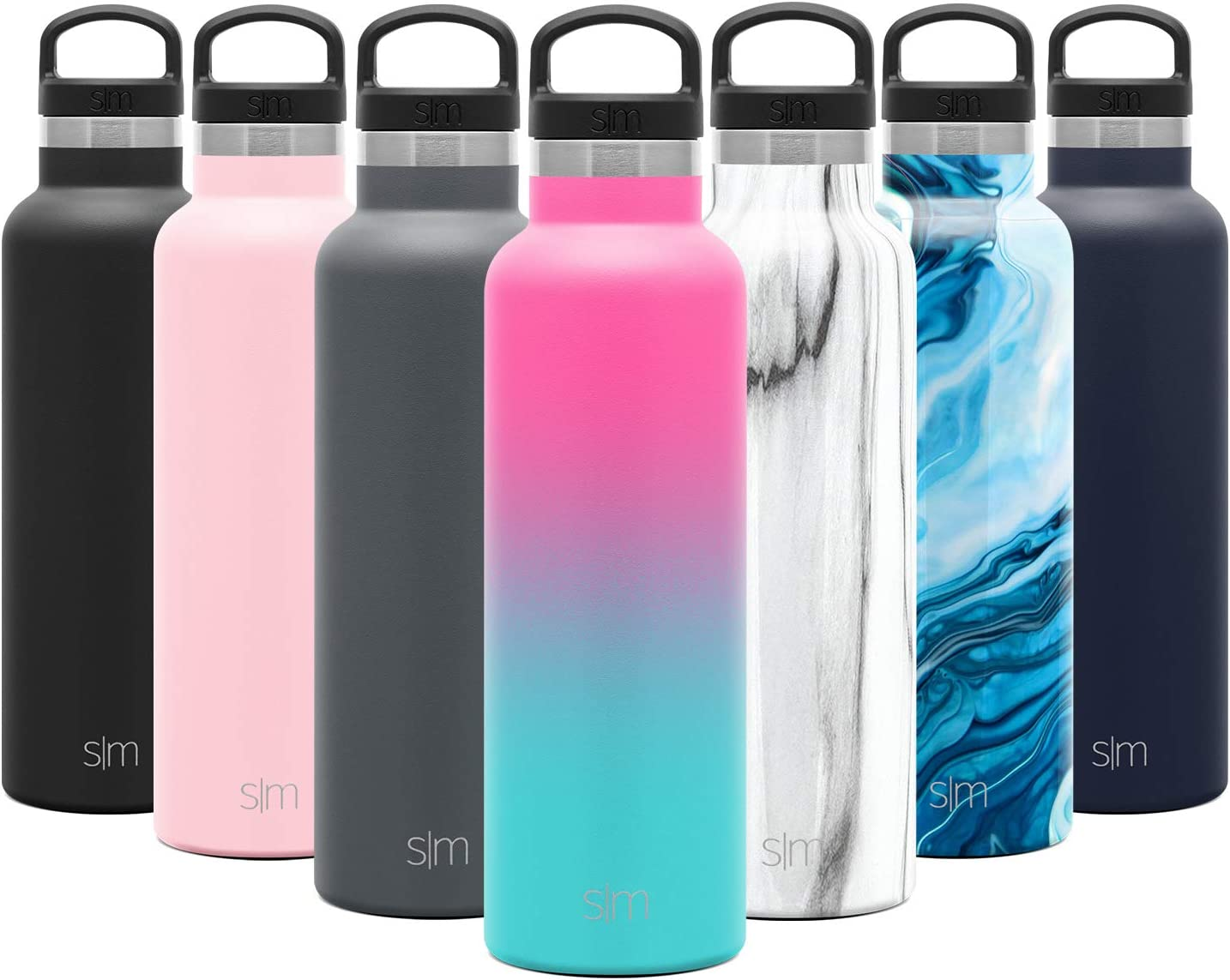 Simple Modern 20oz Ascent Water Bottle - Hydro Vacuum Insulated Tumbler Flask w/Handle Lid - Pink Double Wall Stainless Steel Reusable - Leakproof Ombre: Sorbet